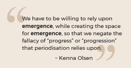 "We have to be willing to rely upon emergence, while creating the space for emergence, so that we negate the fallacy of ""progress"" or ""progression"" that periodisation relies upon. Quote by Kenna Olsen"