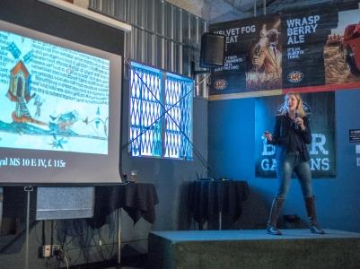 Kenna Olsen presenting at Nerd Night